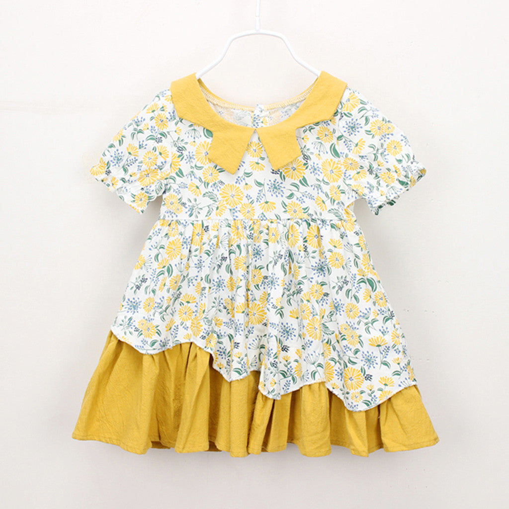 Toddler Kids Baby Girls Clothes Short Sleeve Floral Print Party Princess Dresses Dresses for Baby Girls Soft Cotton new clothes