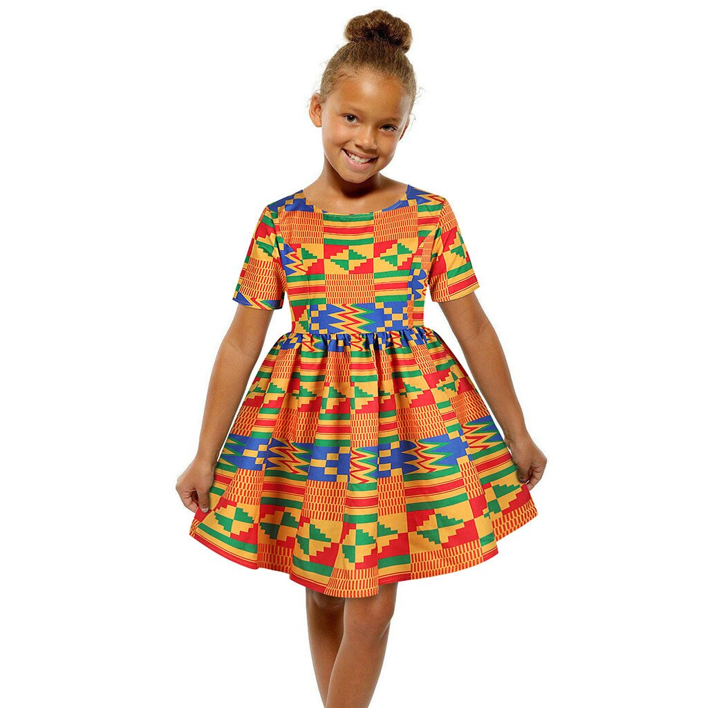 Children Lovely Girl Digital Printing  Zipper Short Sleeve Dress Princess Dress Fashion African Dresses for kids dresses 2020
