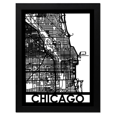 Framed Laser Cut Chicago Map