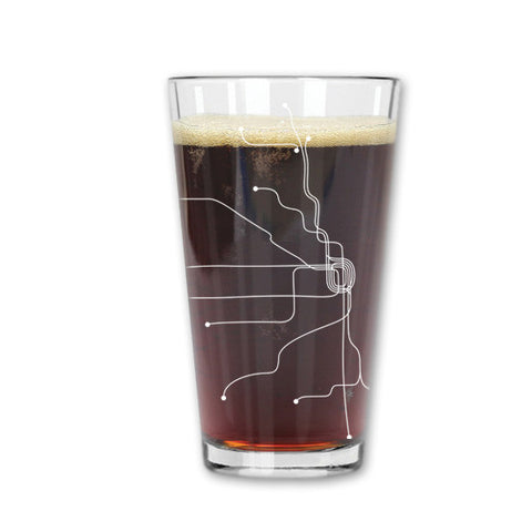 Chicago Line Map Pint Glass in White