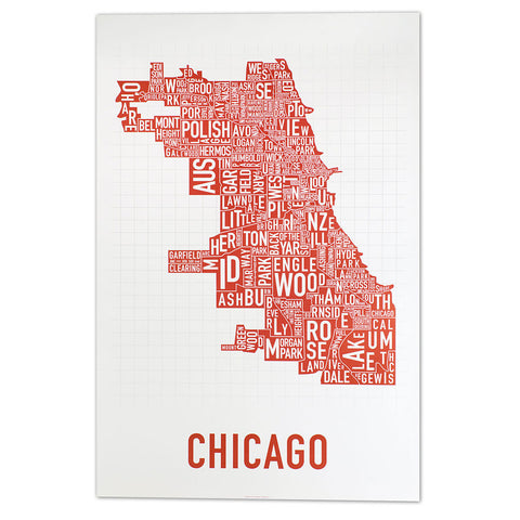 Chicago Neighborhoods Map in Spicy Red