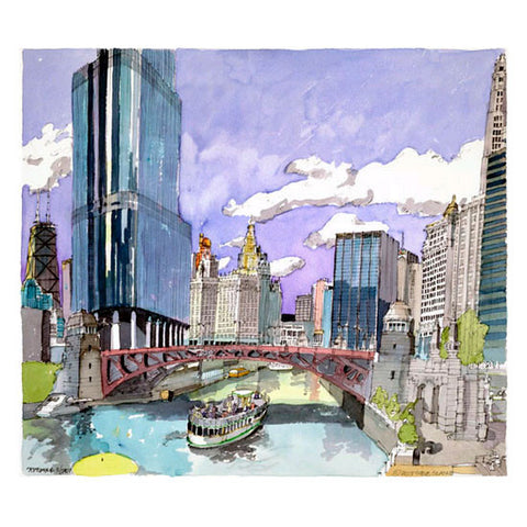 Chicago River Watercolor Print   11 X 14 Inches