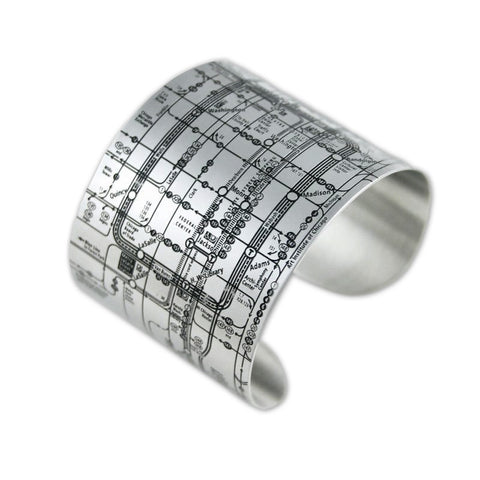 CTA Map Cuff Bracelet in Black