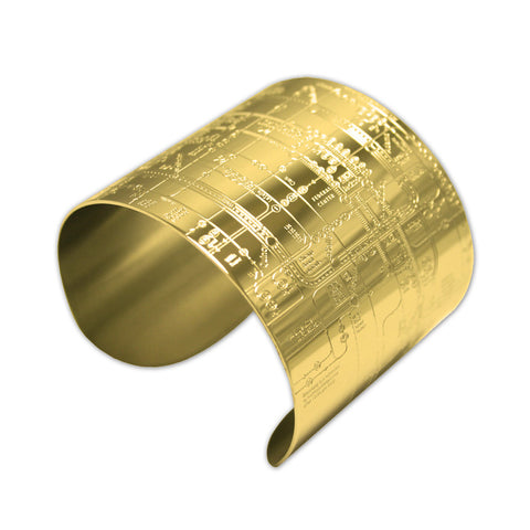 CTA Map Cuff Bracelet in 18K Gold