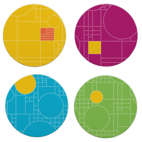Frank Lloyd Wright Coonley Dots Coasters - Set of 4