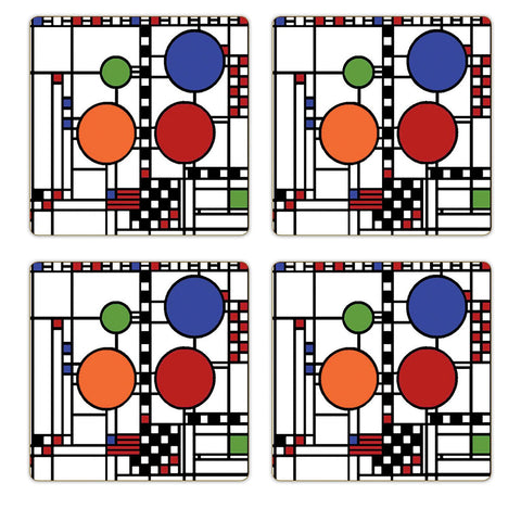 Frank Lloyd Wright Coonley Playhouse Coasters - Set of 4