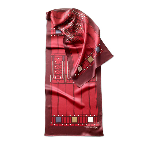Frank Lloyd Wright Tree of Life Scarf in Red