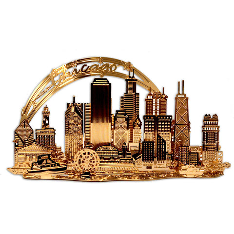 Chicago Skyline Gold Ornament