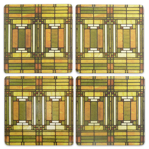 Frank Lloyd Wright Oak Park Skylight Coasters - Set of 4