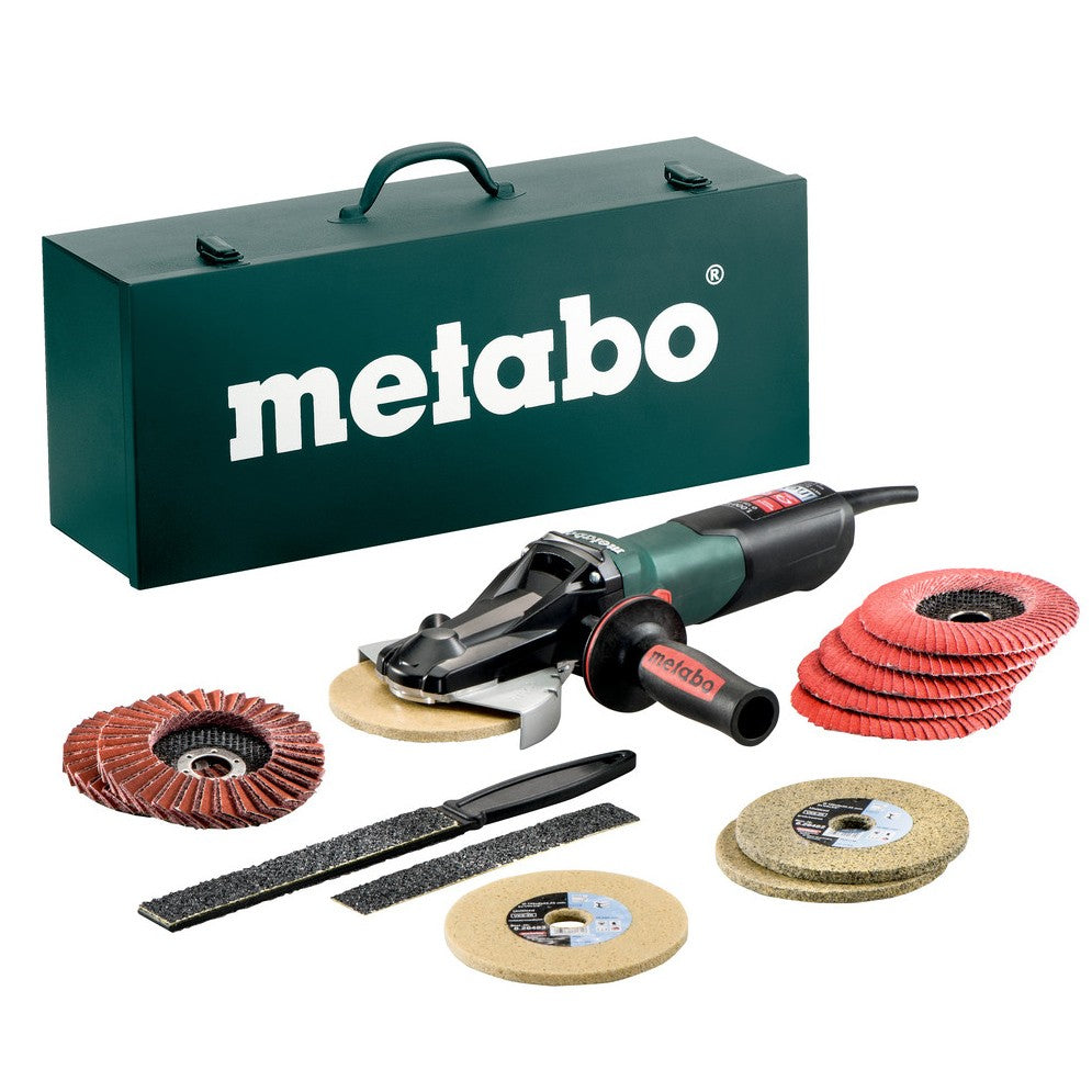 Metabo 1000W Flat Head Grinder WEVF 10-125 Quick Inox Set 613080500