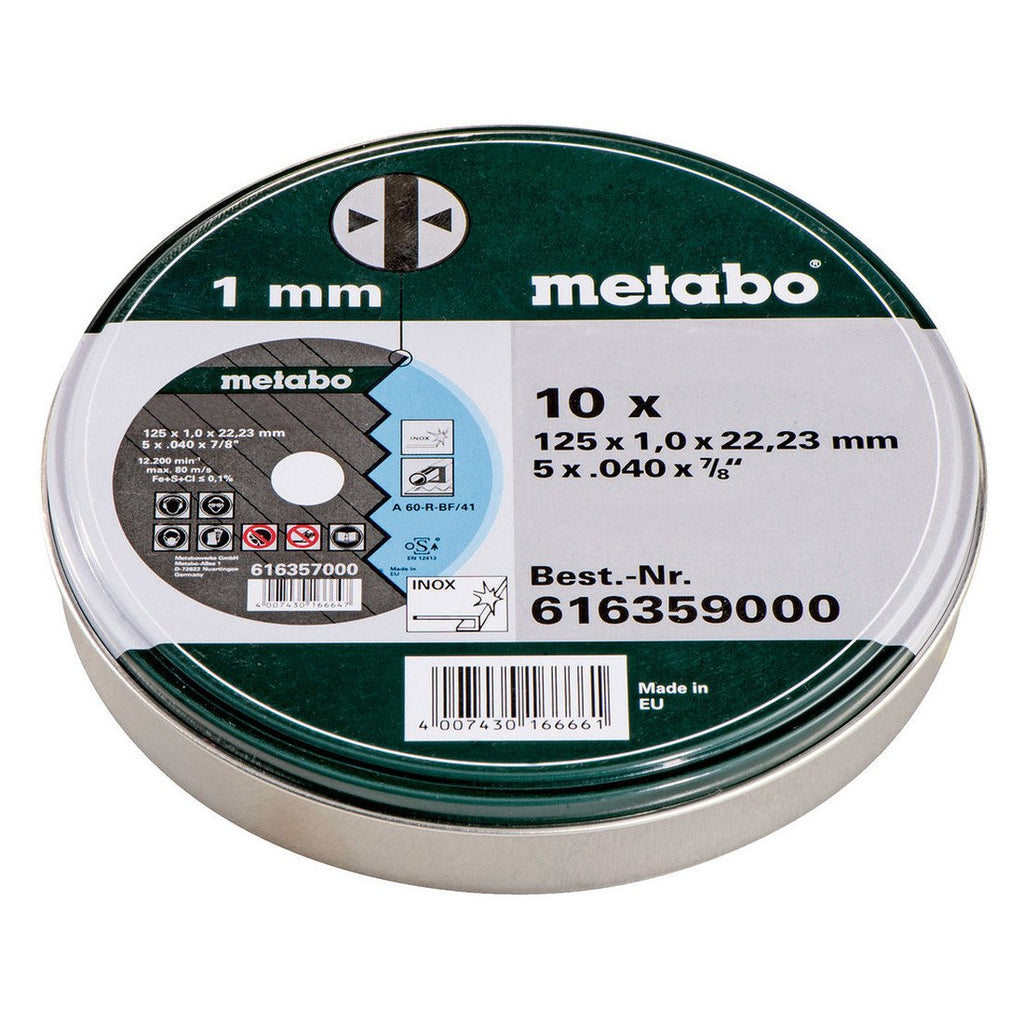 Metabo 10 Piece 1mm x 125mm Thin Cutting Disc 616359000