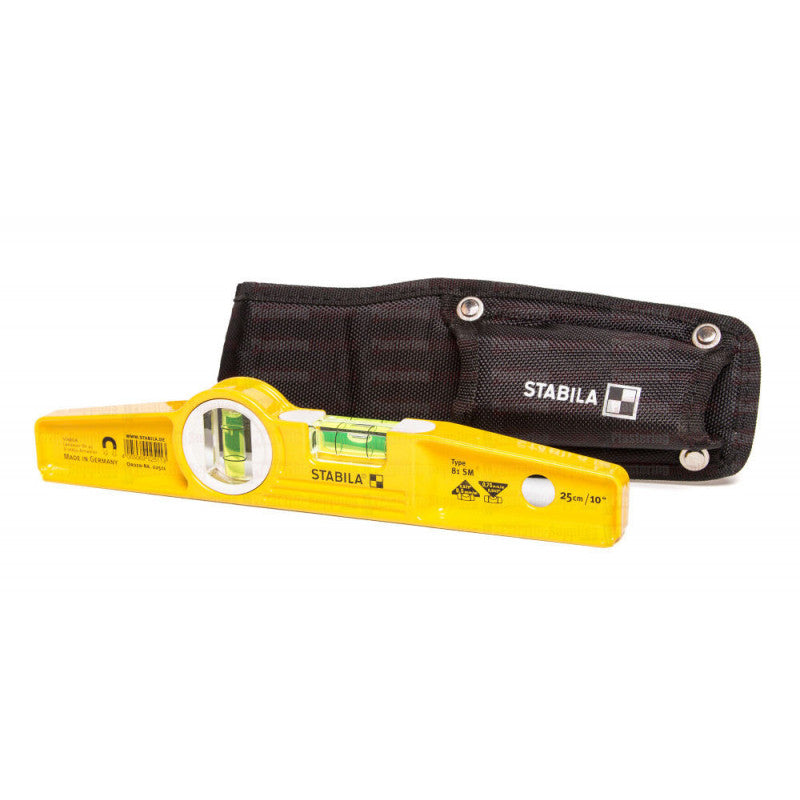 "Stabila 02511 Magnetic Spirit Level Torpedo 25cm 10"" with Holster 81SM/25"
