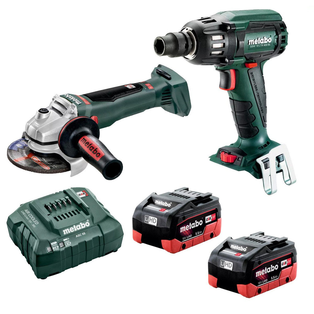 Metabo 18V Impact Wrench + 125mm Angle Grinder 5.5Ah LiHD Kit AU68200350