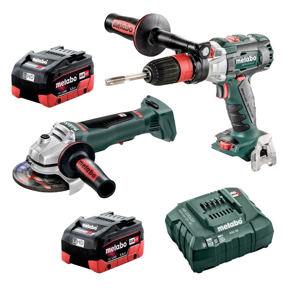 Metabo 18V Drill/Screwdriver + 125mm Angle Grinder 5.5Ah LiHD Kit AU68200650