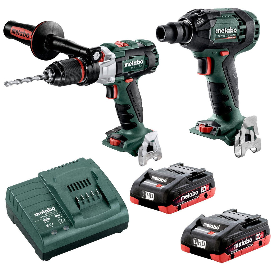 "Metabo 18V Hammer Drill 120Nm + 1/2"" Impact Wrench 300Nm 4.0 LiHD Kit (AU68901760)"
