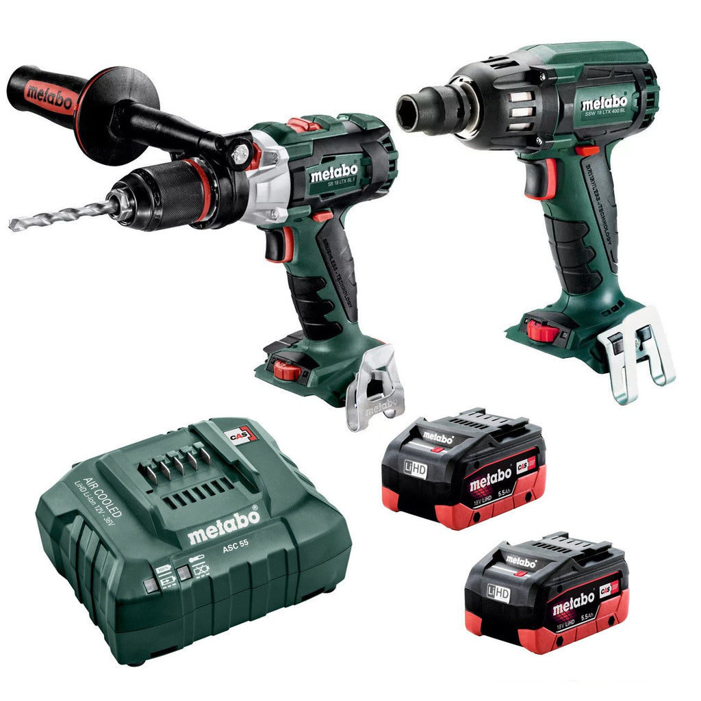 "Metabo 18V Hammer Drill 120Nm + 1/2"" Impact Wrench 400Nm 5.5Ah LiHD Kit (AU68902055)"