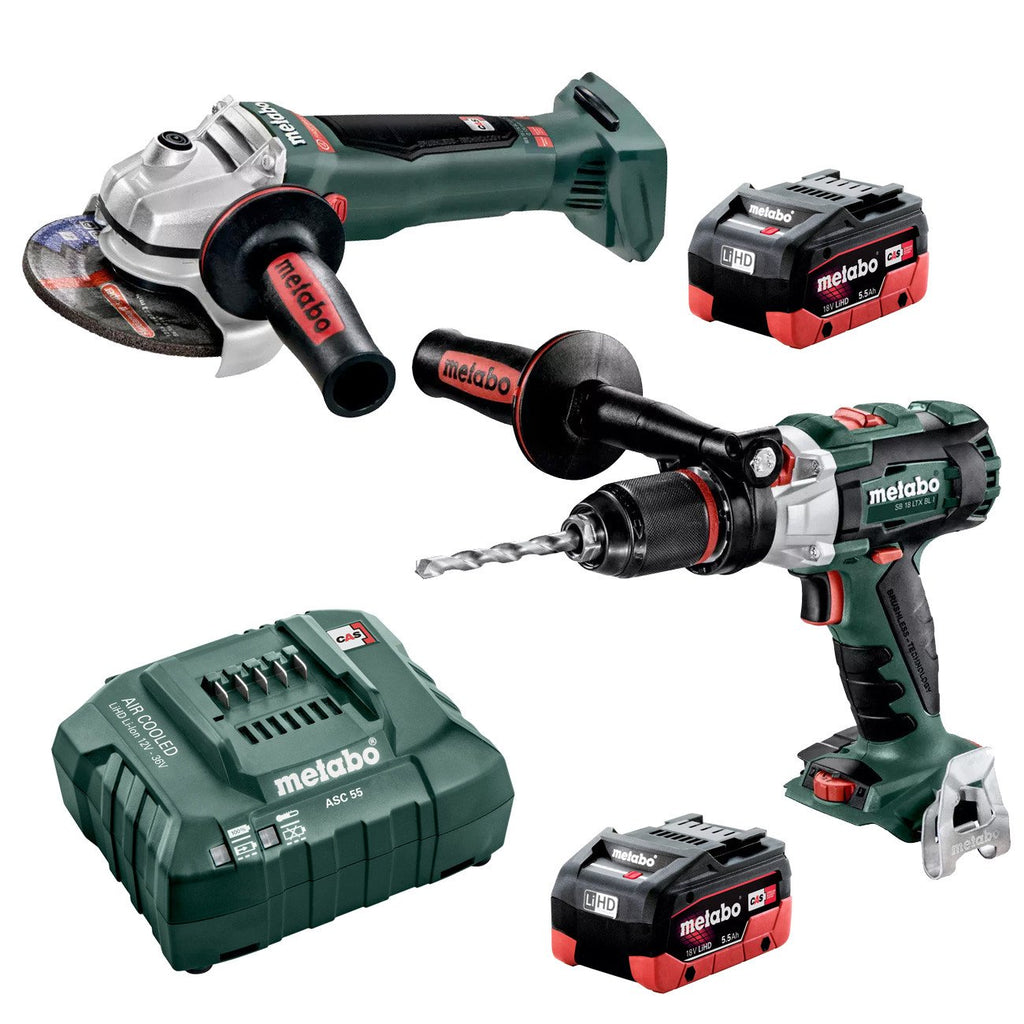 Metabo 18V Hammer Drill 120Nm + 125mm Angle Grinder 5.5Ah LiHD Kit (AU68902155)