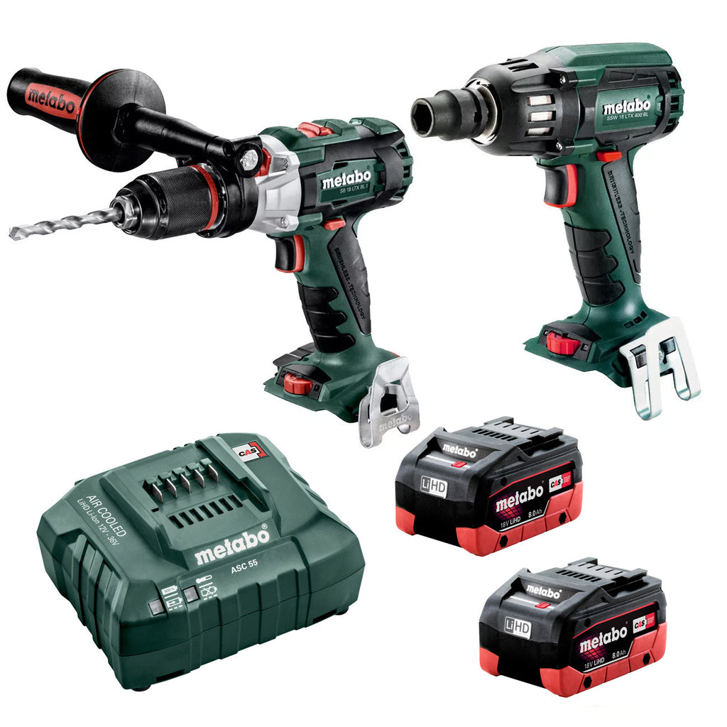 "Metabo 18V Hammer Drill 120Nm + 1/2"" Impact Wrench 400Nm 8.0Ah LiHD Kit (AU68902580)"