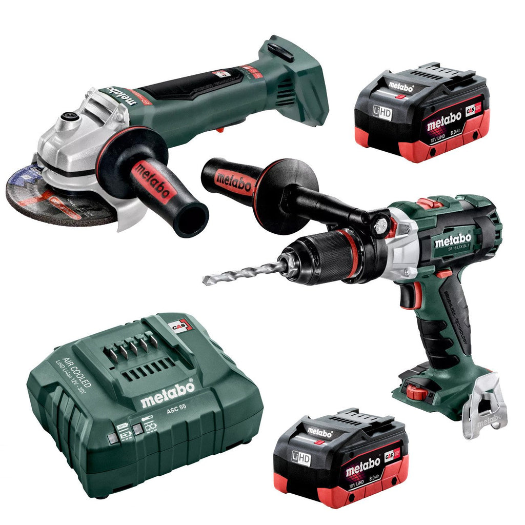 Metabo 18V Hammer Drill 120Nm + 125mm Angle Grinder w/Paddle 8.0Ah LiHD Kit (AU68902780)