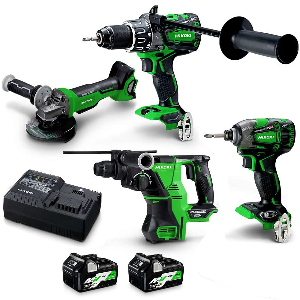 HiKOKI 36V Brushless 4 Piece 2 x 5.0Ah/2.5Ah Combo Kit KC36D4AHRZ