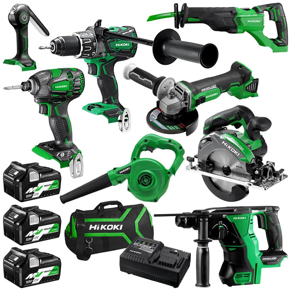 HiKOKI KC18D8P(HRZ) 18V 5.0Ah Li-Ion Cordless 8pce Combo Kit Including Brushless