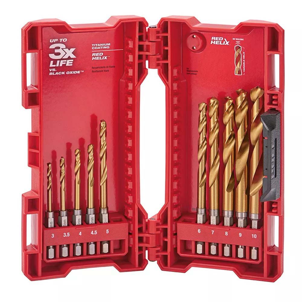 Milwaukee Shockwave Titanium Red Hex Drill Bits - 10 Piece Kit 48894859