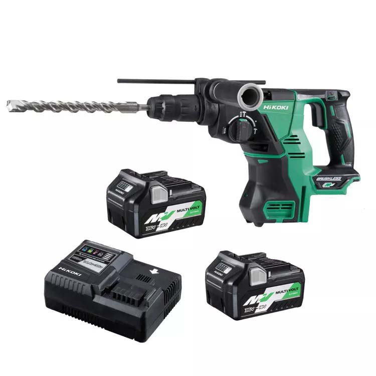 HiKOKI 36V SDS Plus Rotary Hammer with Quick Release Chuck MultiVolt Battery Kit DH36DPC(HRZ)