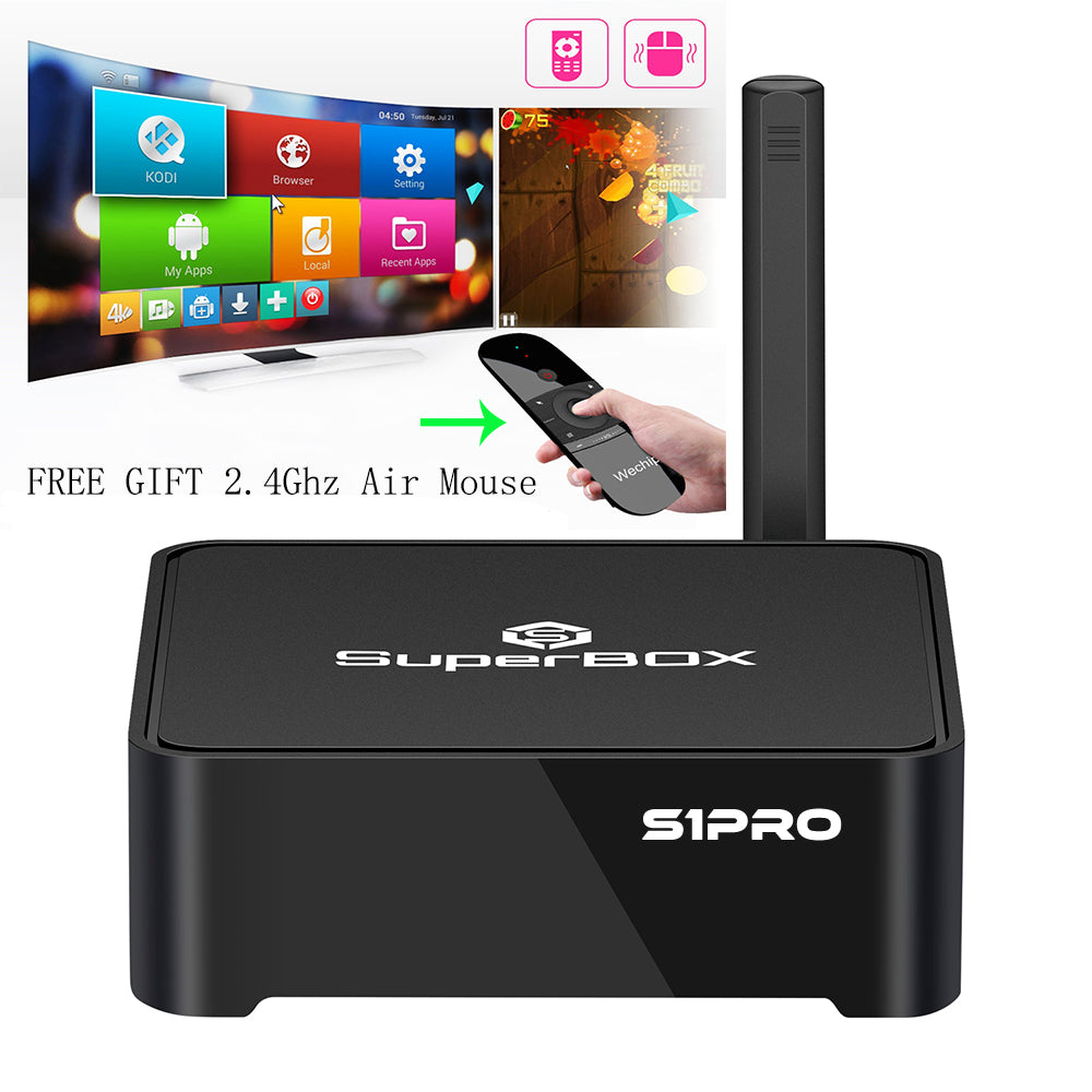 Super Box S1 PRO Streaming Media Box with free wechip air mouse Wireless Keyboard Remote Control