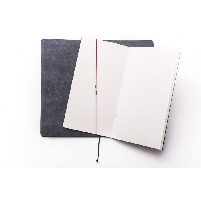 Traveler Notebook Black Leather/Red Rubber