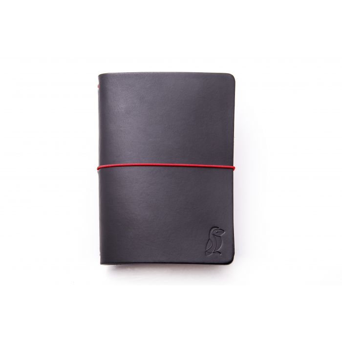 Passport Notebook Black Leather/Red Rubber