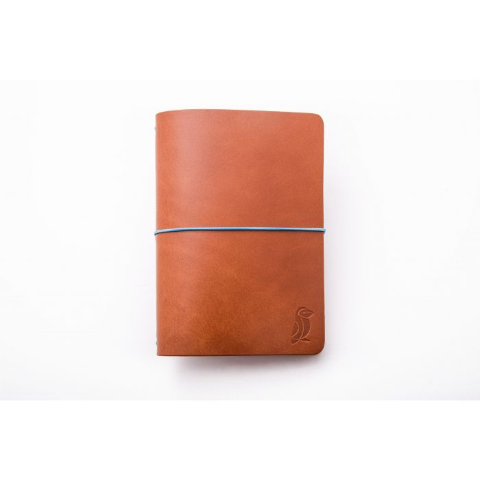 Passport Notebook Camel Leather/Blue Rubber