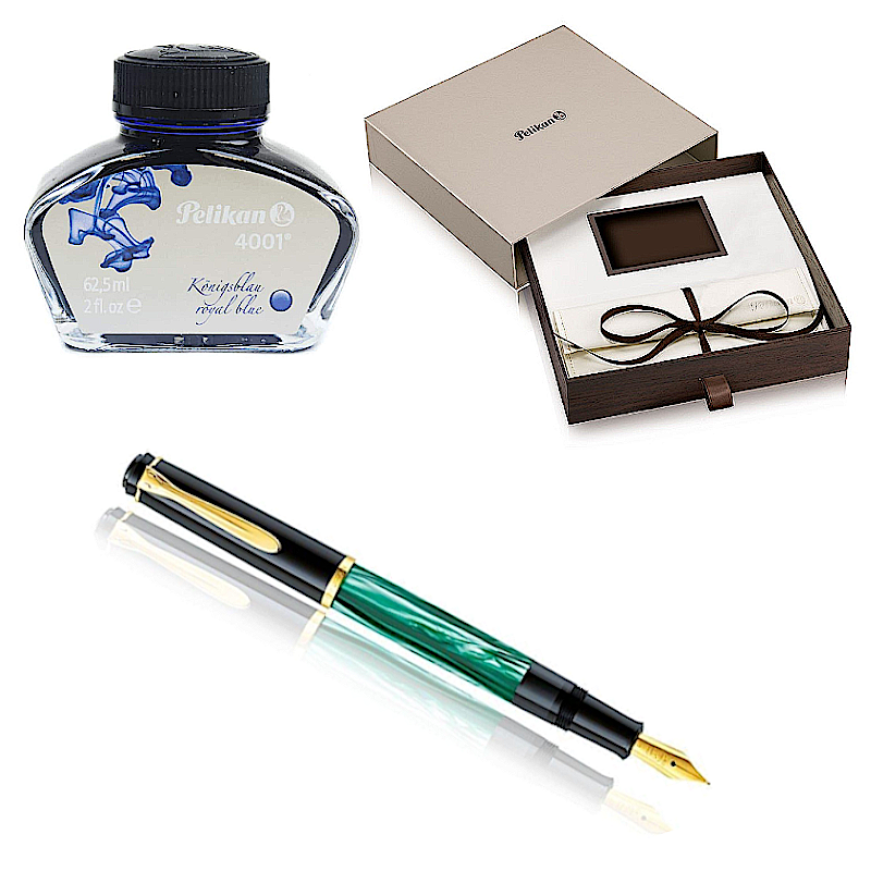 Pelikan Classic M200 Green Marbled, EF Tip -Special Set Box-