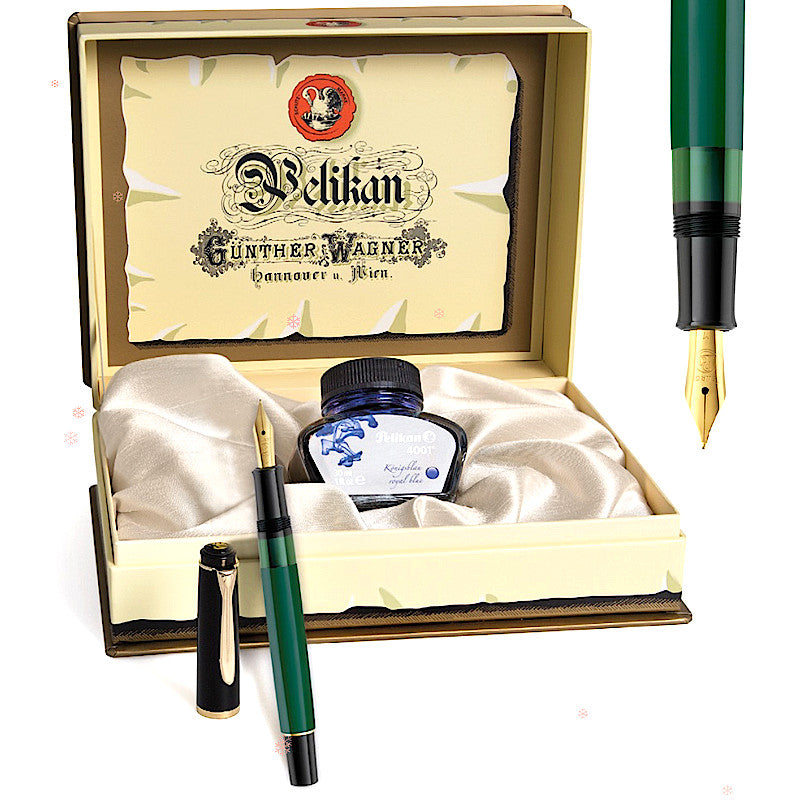 Pelikan Classic M251 Green/Black, EF Tip -Special Set Box-