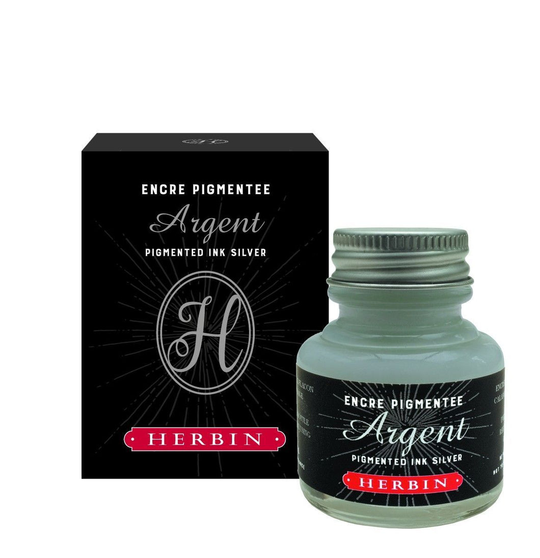 Herbin 30ml Pigmented Ink Silver