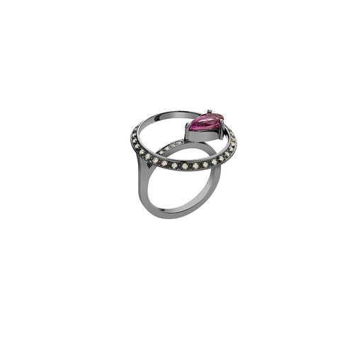 Avant Garde Ring in 18K White Gold with Black Rhodium, Rose Sapphire and LLB Diamonds