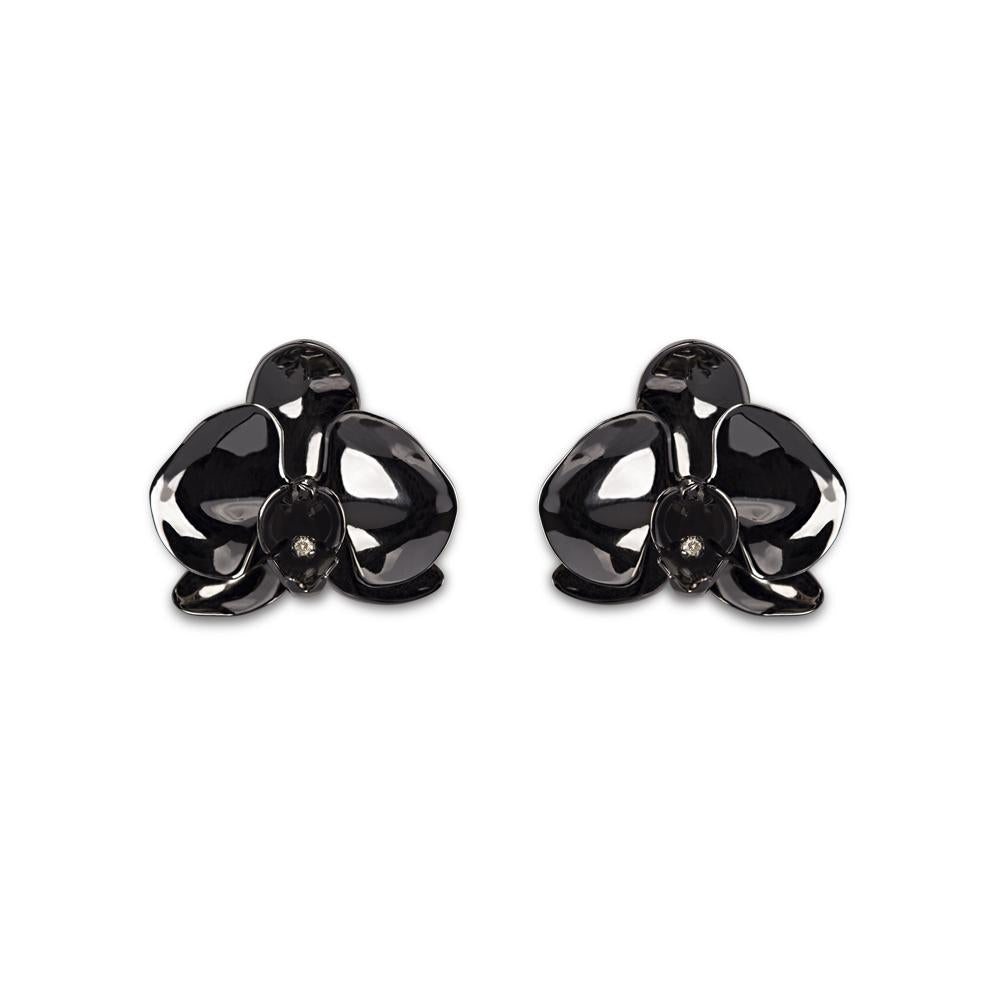 Black Orchid Earring With Silver With Black Rhodium And Diamond