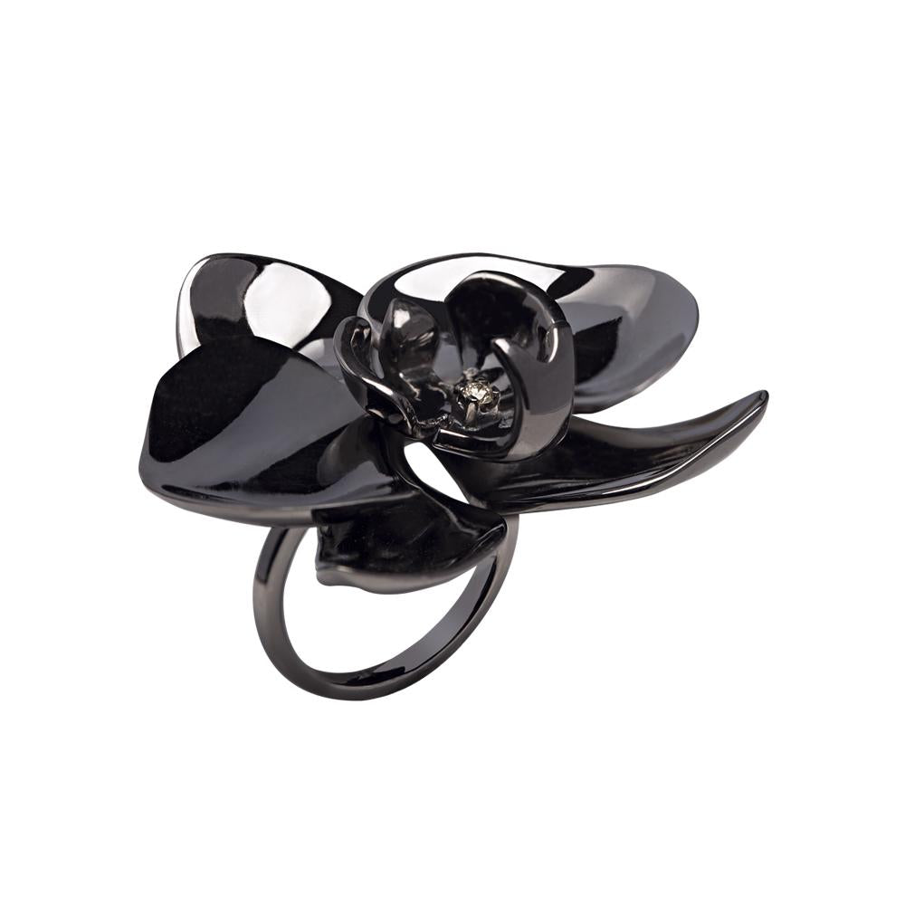 Black Orchid Ring With Silver With Black Rhodium And Diamond