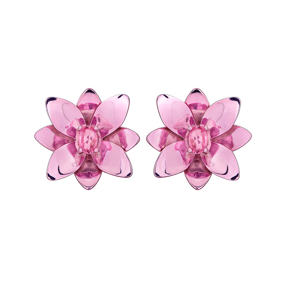 Blossom Earring in Silver With Pink Lacquer And Pink Sapphire