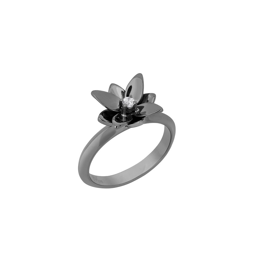 Blossom Mini Ring in Black Rhodium Plated Silver With Colorless Sapphire