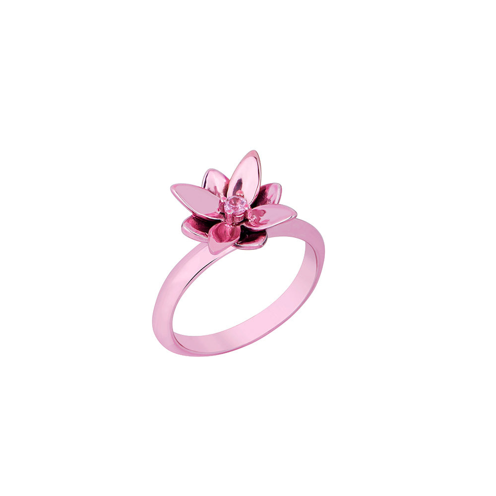 Blossom Mini Ring in Silver With Pink Lacquer And Pink Sapphire