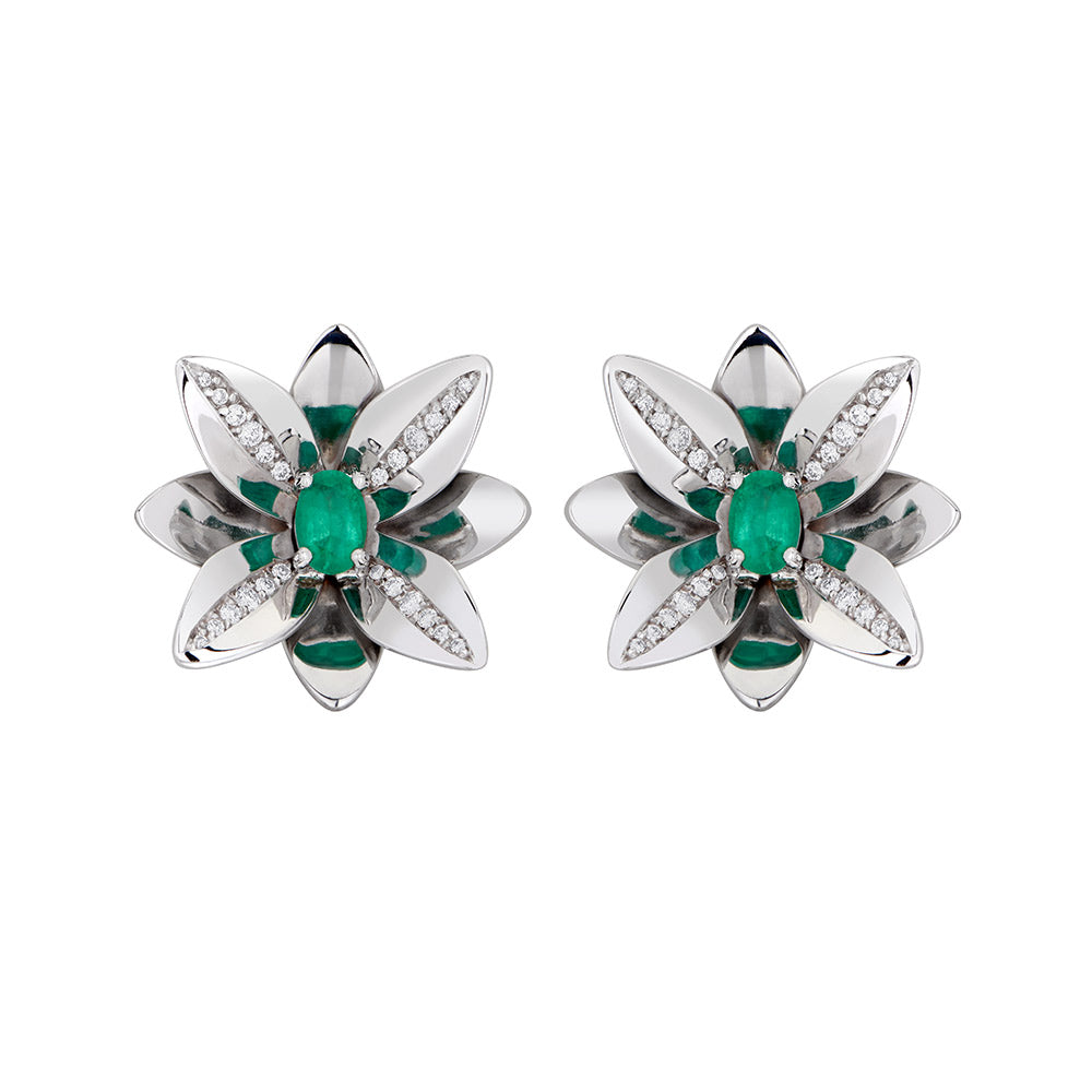 Blossom Precious Earring in 18K White Gold With Diamonds And Emerald