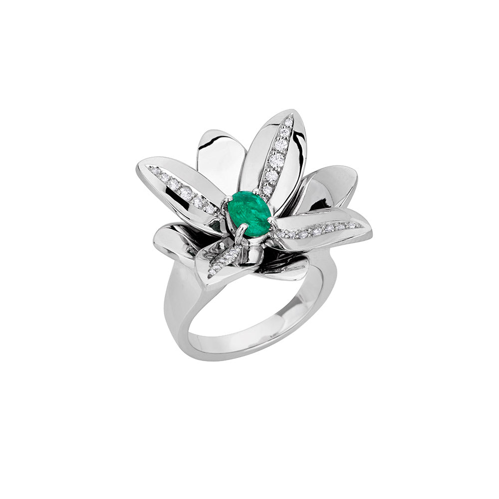 Blossom Precious Ring in 18K White Gold With Diamonds And Emerald