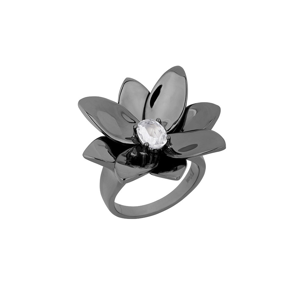 Blossom Ring in Black Rhodium Plated Silver With Colorless Sapphire