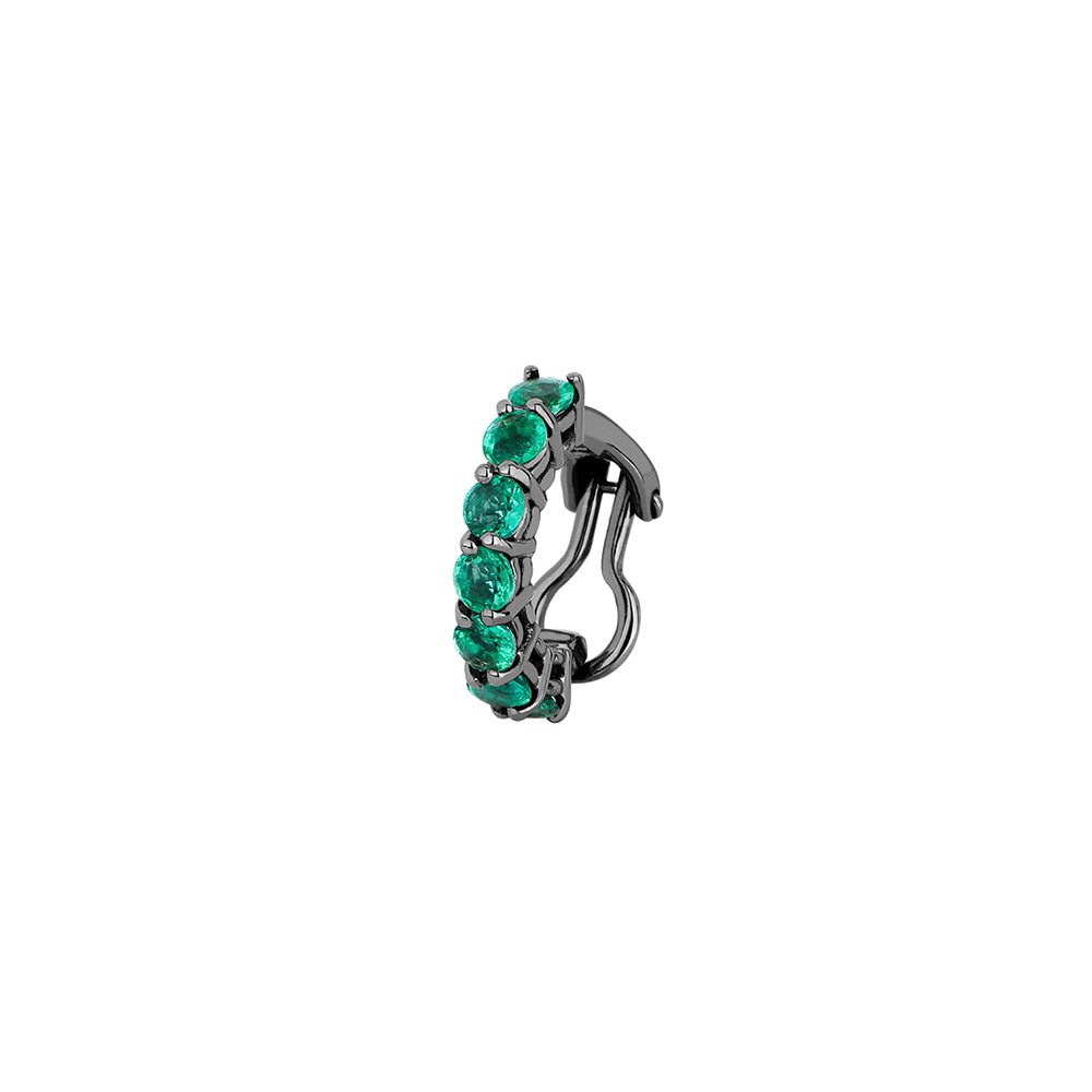 Chain Lovers Piercing in Black Rhodium plated White Gold and 0,66Ct Emeralds