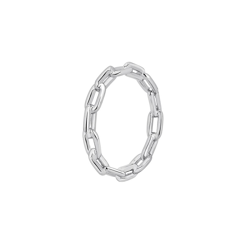 Chain Ring With White Rhodium Plated Silver
