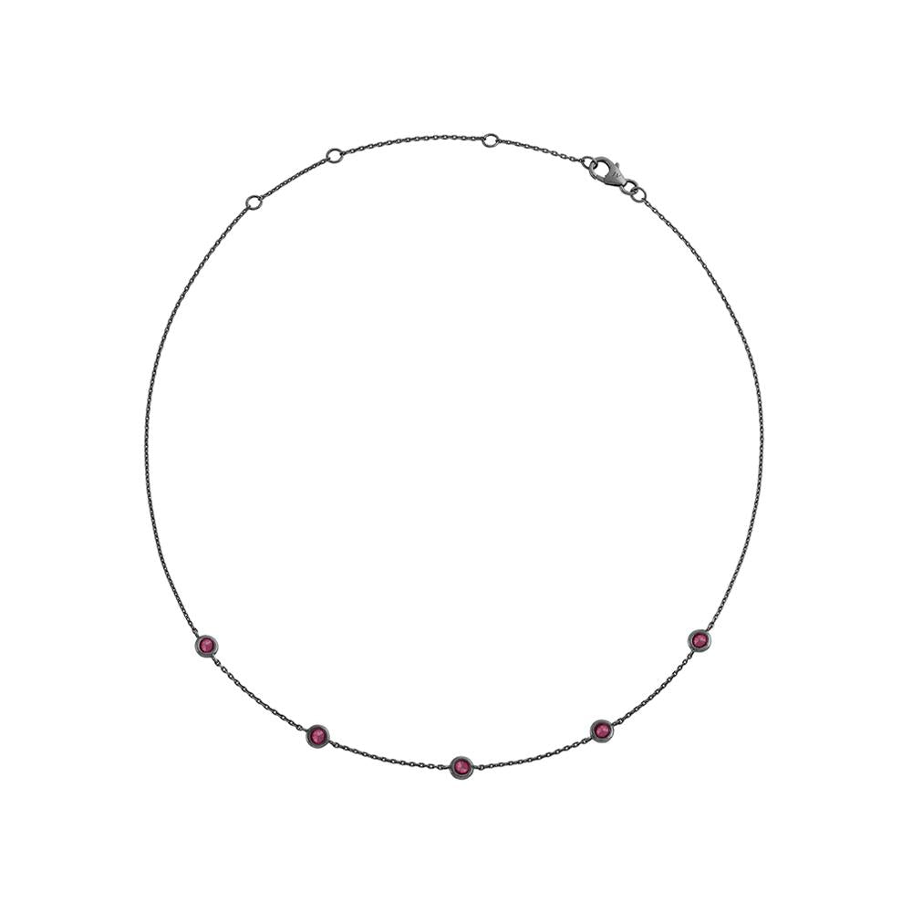 Choker Charm With 18K White Gold With Black Rhodium And Rubies 0,67Cts