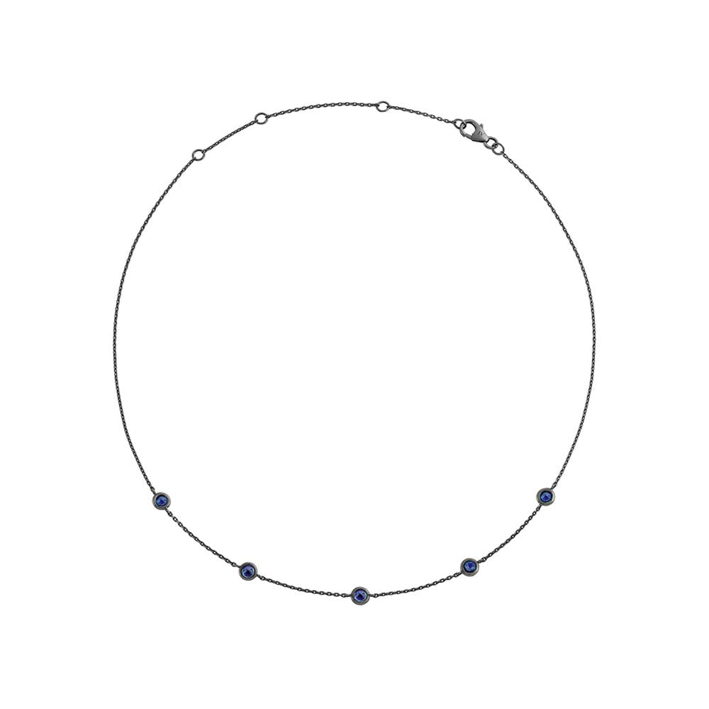 Choker Charm With 18K White Gold With Black Rhodium And Sapphires 0,43Cts