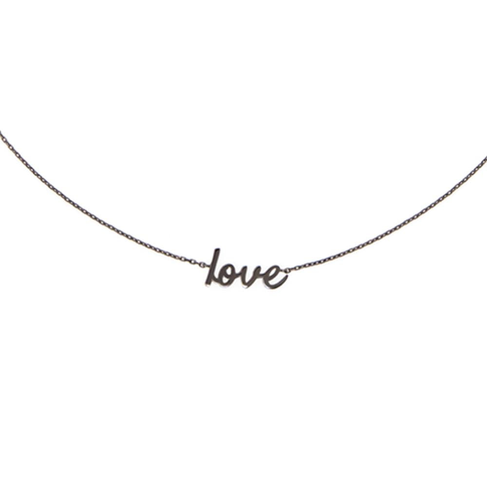 Choker Love With 18K White Gold With Black Rhodium