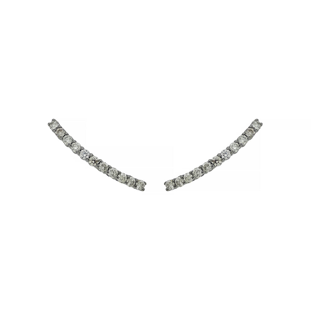 Comet Earring With Black Rhodium plated White Gold and 1,55ct Light Light Brown Diamonds