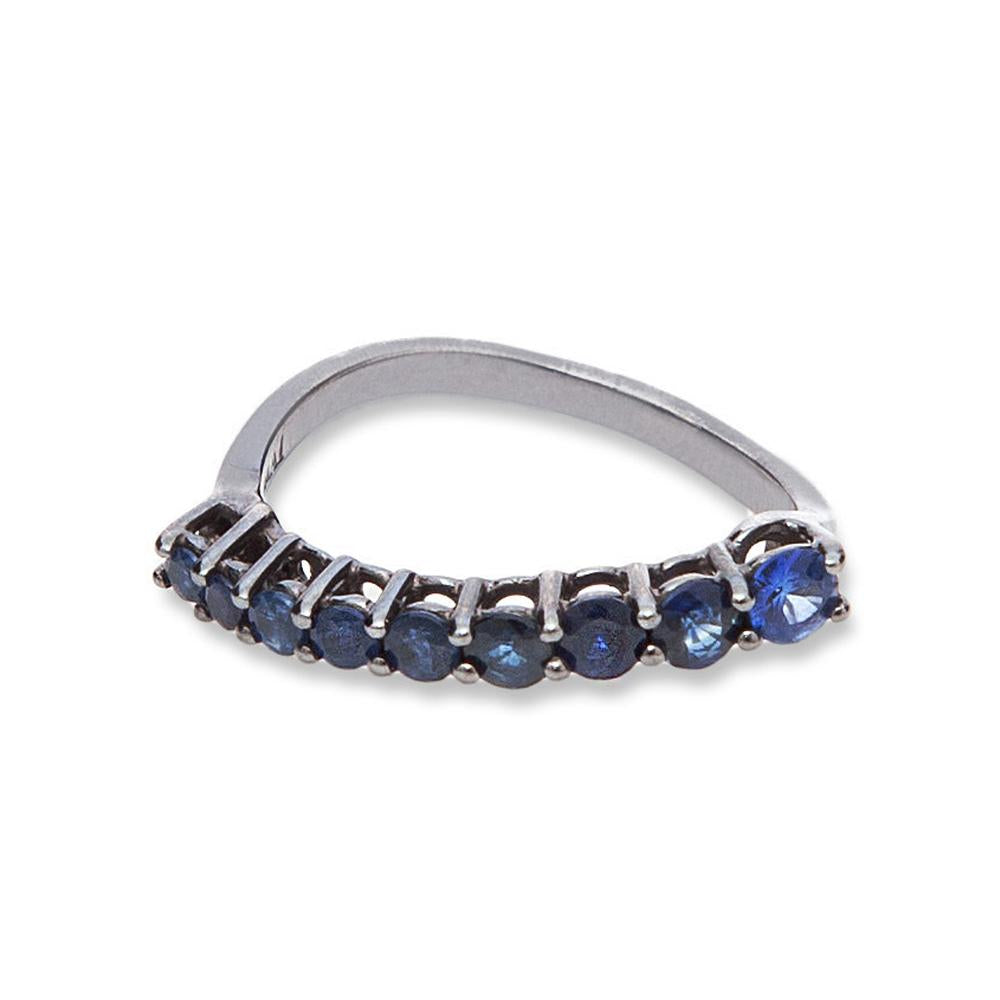 Comet Ring With Ring In White Gold 18K With Black Rhodium And Blue Sapphires 1,10Ct